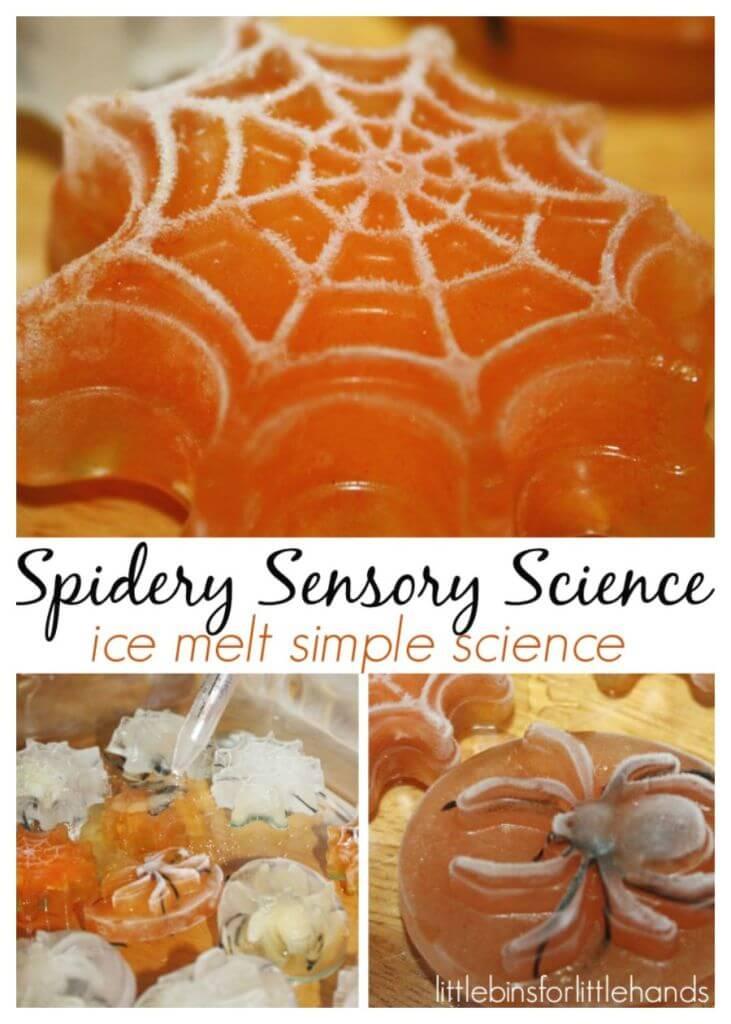 Spider Ice Melt Sensory Science Halloween Activity