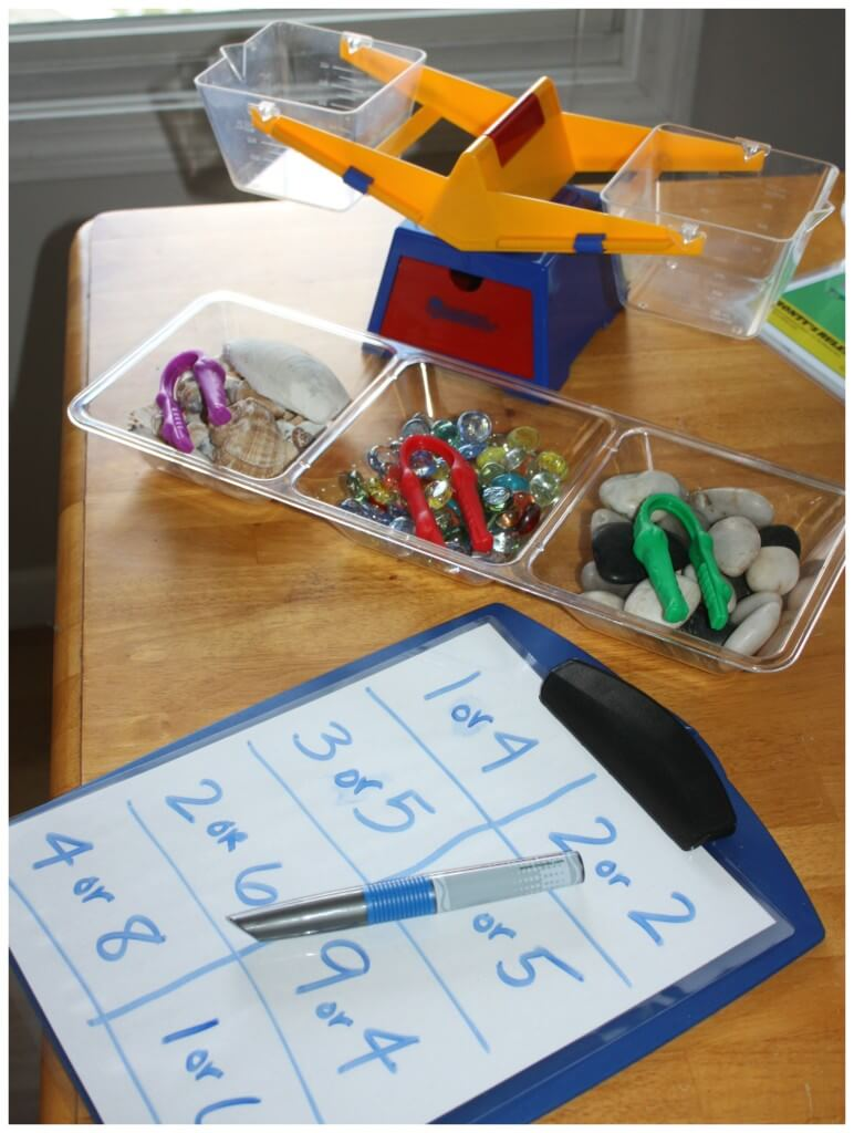 Weighing activity hands on math STEM set up