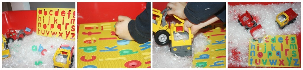 Winter Early Learning Alphabet Sensory Bin Puzzle