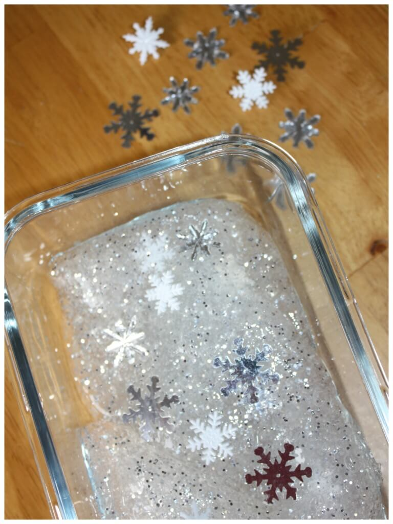 Winter Snowflake homemade slime with snowflakes