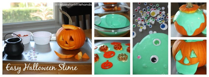 easy slime halloween sensory play set up and invitation to play