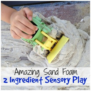 sand foam 2 ingredient sensory play