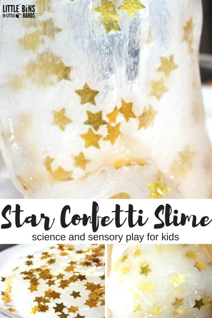 Make our star confetti slime recipe for easy homemade slime and quick kids science and sensory play!