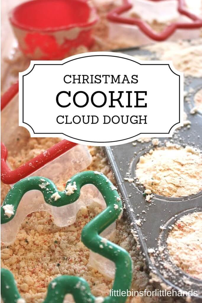 Christmas Cookie Cloud Dough Taste Safe Sensory Play Holiday Activity for Kids.
