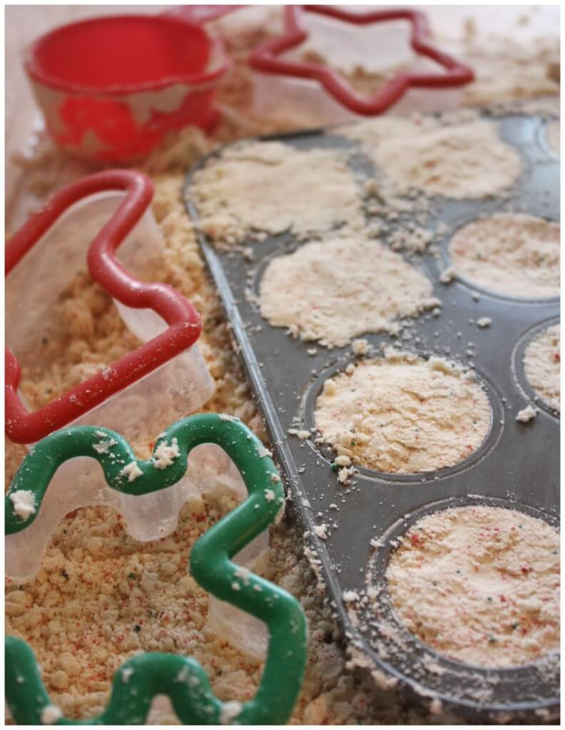 Christmas Cookie Cloud Dough and Cookie Cutters Muffin Tin Pretend Play