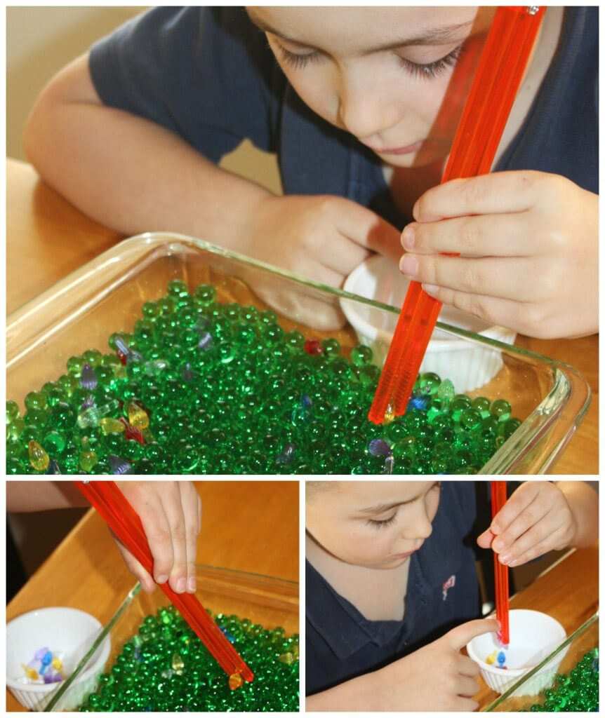 Christmas Fine Motor Sensory With Chopsticks Water Beads Sensory Bin Search and Find