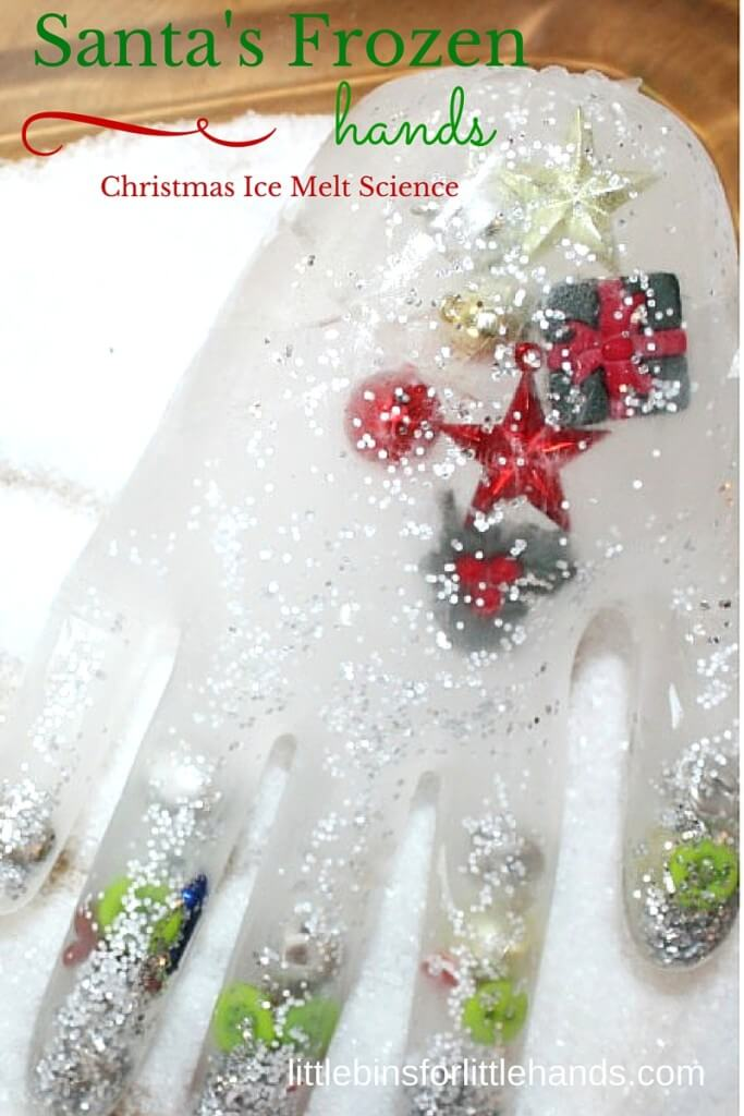 Christmas Ice Melt Science Santa's frozen hands activity