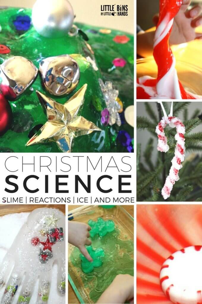 Christmas science activities and experiments for Kids Christmas STEM! Make Christmas eruptions, crystals, slimes, and more with simple christmas science ideas.