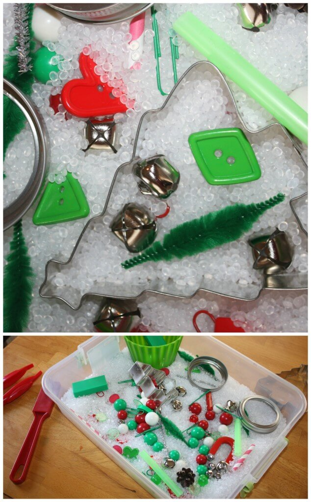 Christmas Sensory Bin Magnet Sensory Play Close up of sensory bin filler