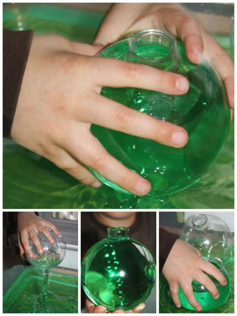 Christmas Sensory Play Filling ornaments with water