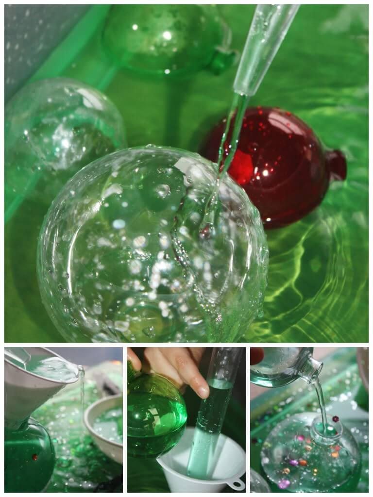 Christmas Sensory play water bin using funnel and baster