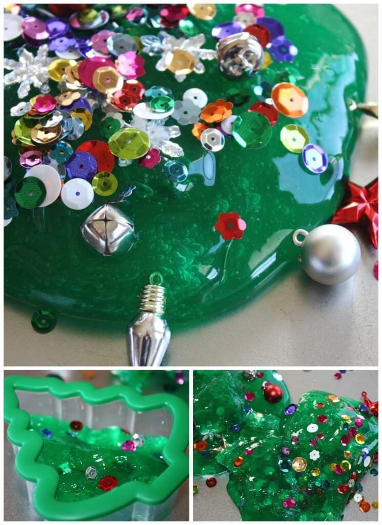 Christmas Tree Homemade Slime Decorated with sequins and ornaments