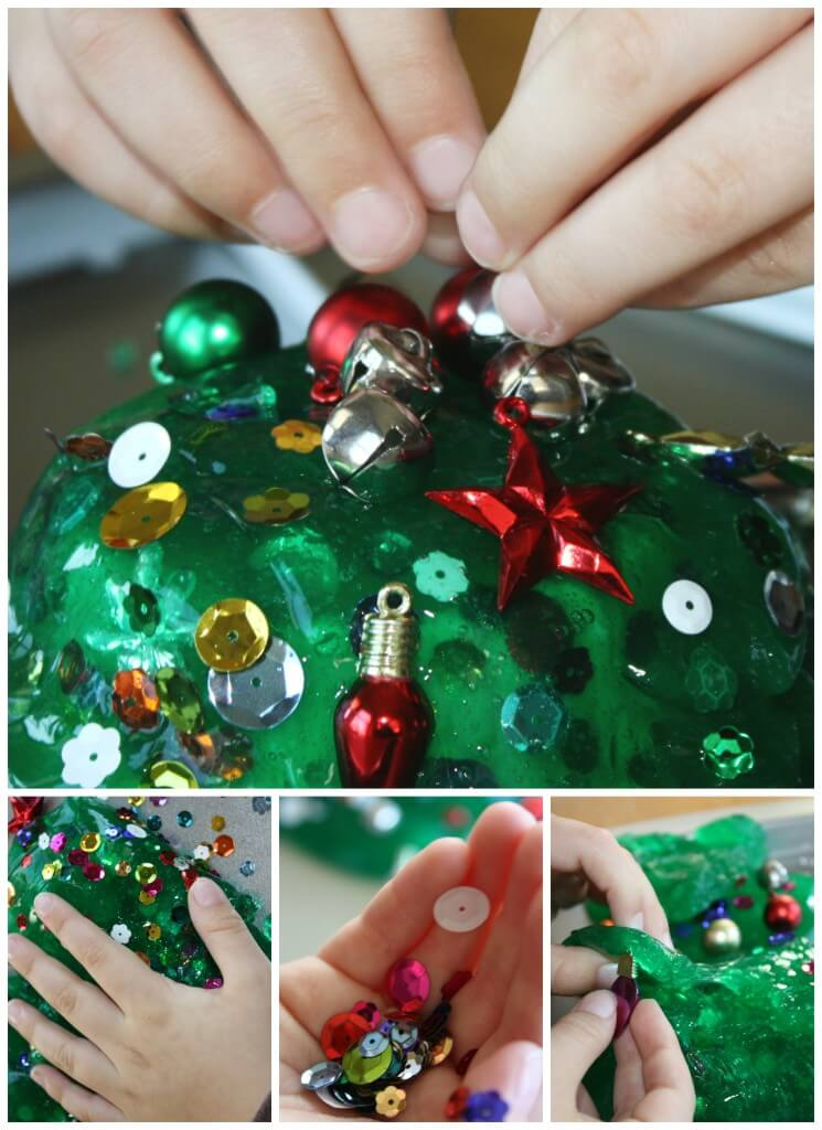 Christmas Tree Homemade Slime Hands Decorating
