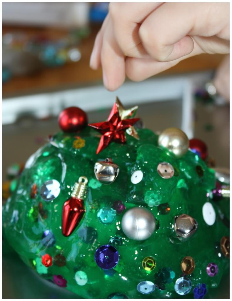 Christmas Tree Homemade Slime Placing Star