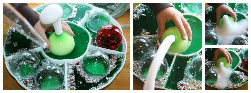 Christmas baking soda science erupting tray