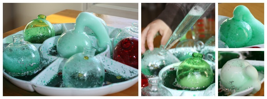 Christmas baking soda science eruption sensory play