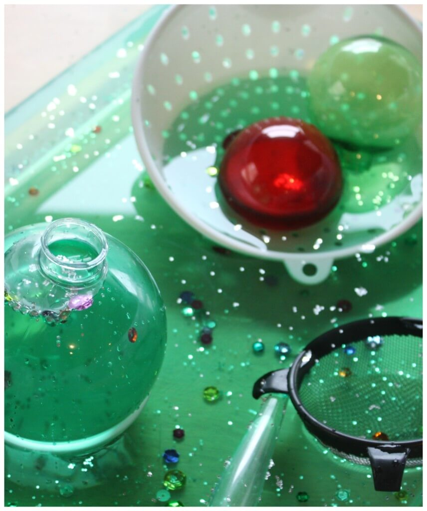 Christmas sensory play water sensory bin strainers