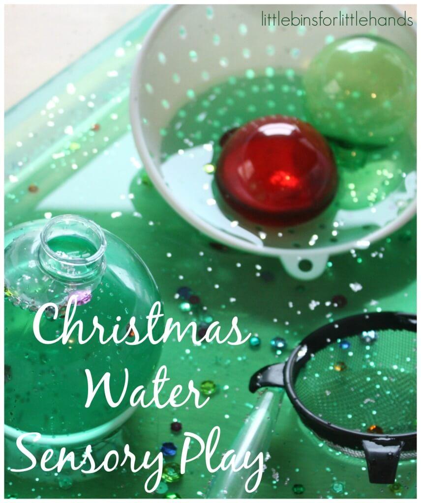 Christmas sensory play water sensory play bin strainers