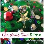 Christmas tree homemade slime sensory play