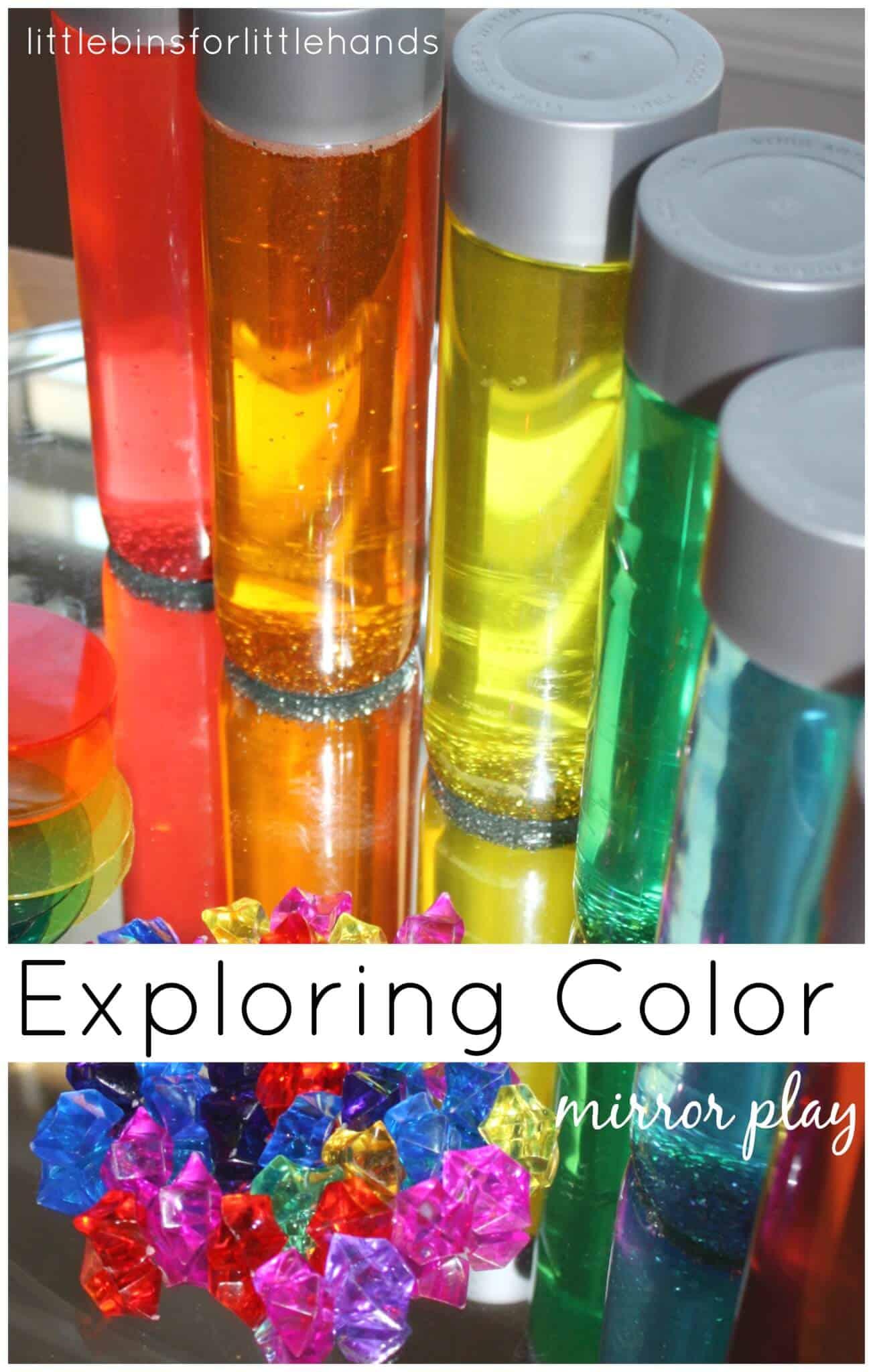 Color Play on Mirror Rainbow Sensory Play