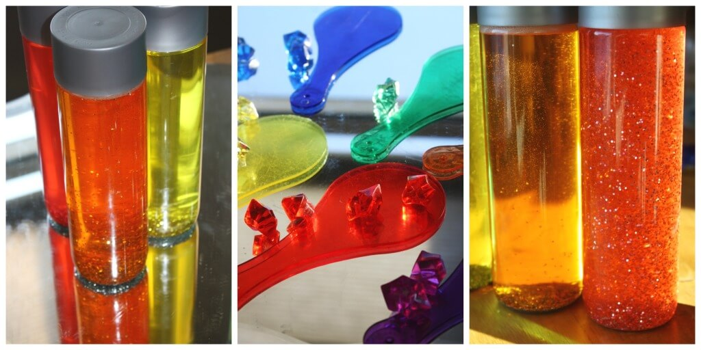 Color Play exploring gems color paddles and sensory bottles