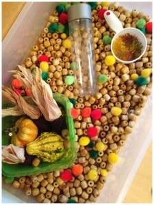 Fall Harvest Sensory Bin Thanksgiving Sensory Play Wooden Beads Filler