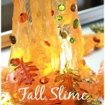Fall Slime Recipe Decorated With leaves and Sequins Oozing Down 2