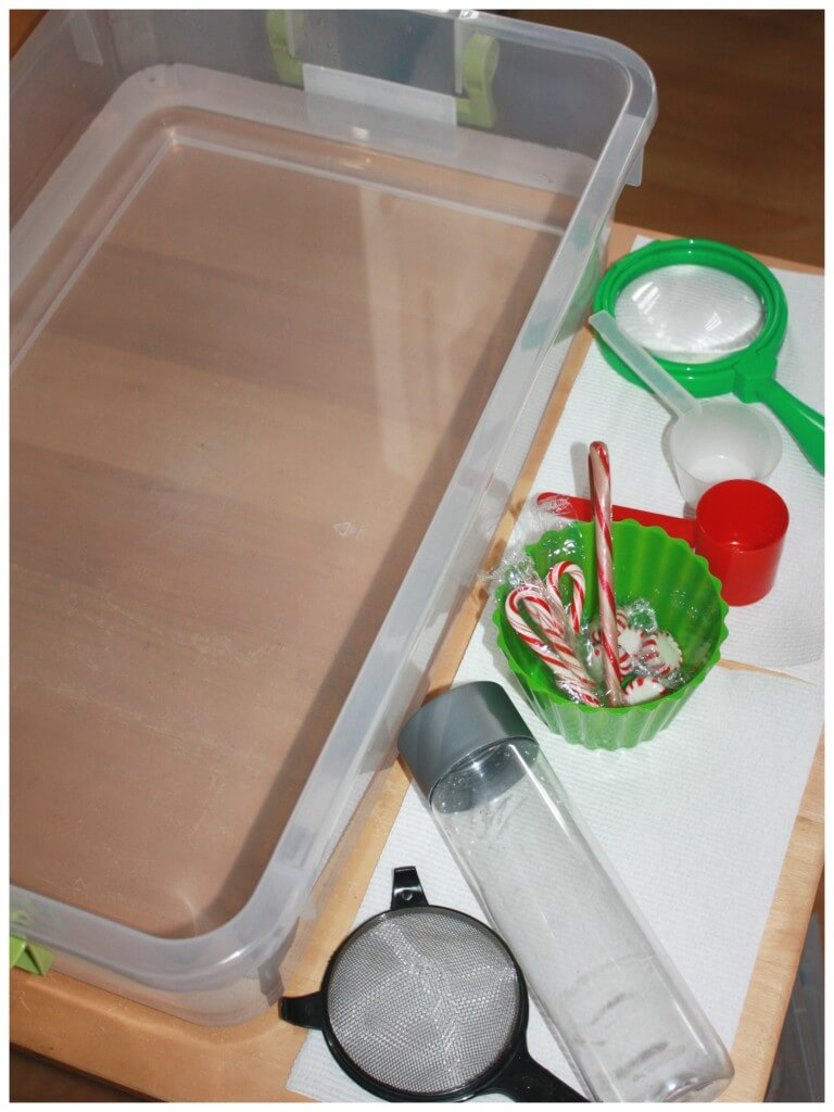 Peppermint water science sensory play set up