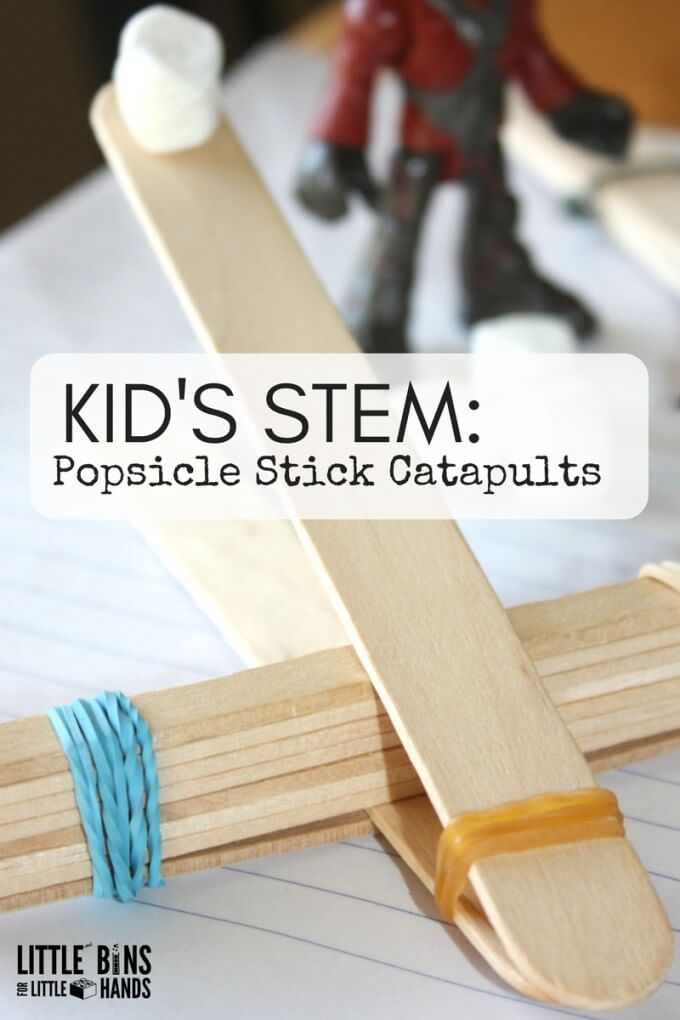 Make popsicle stick catapults for kids STEM activities. Explore physics and Newtons Laws of Motion with a simple machine. All you need are craft sticks and rubber bands to build a simple catapult for kids. Hands on STEM activities make learning fun.