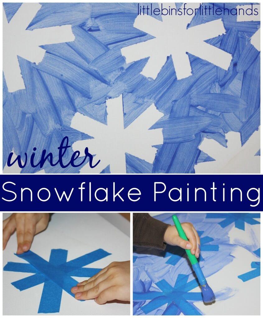 Snowflake tape resist painting activity
