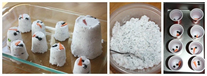 Snowman baking soda science activity set up
