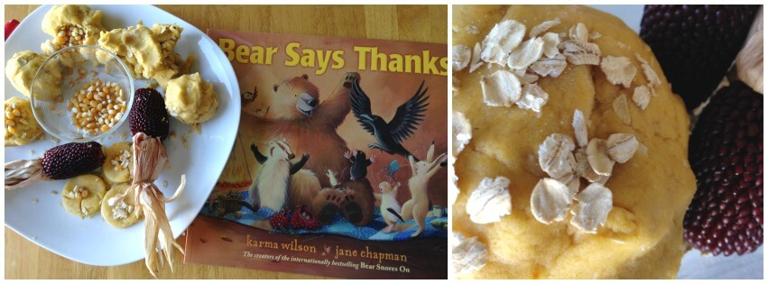 Thanksgiving no cook dough sensory and book play Bear Says Thanks
