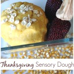 Thanksgiving no cook dough sensory play with corn oats
