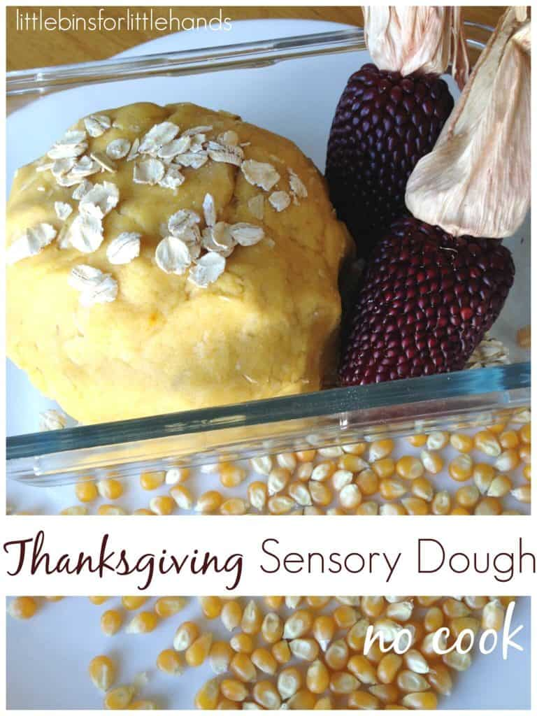 Thanksgiving no cook dough sensory play with corn oats