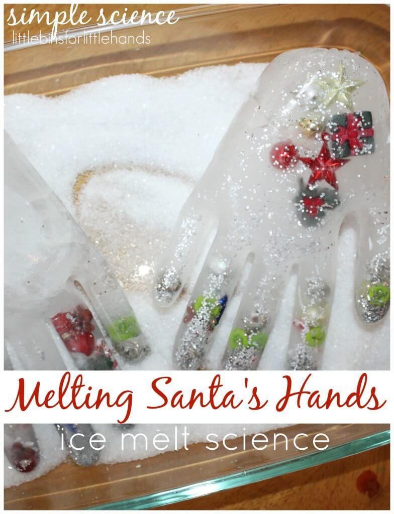 Winter Ice Melt Frozen Hands Science Activity Santa's Frozen Hands