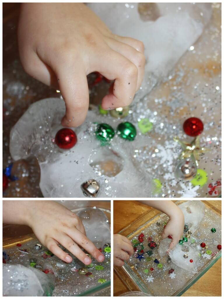 Winter ice melt frozen hands melting ice sensory play