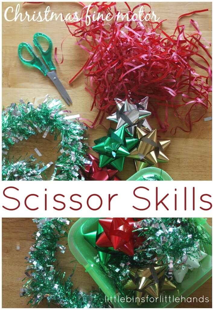 Christmas Scissor Skills Cutting practice activity dollar store items