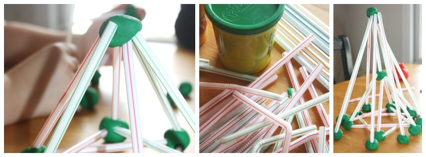 Christmas Tree STEM Play Dough and Straws Christmas tree engineering play