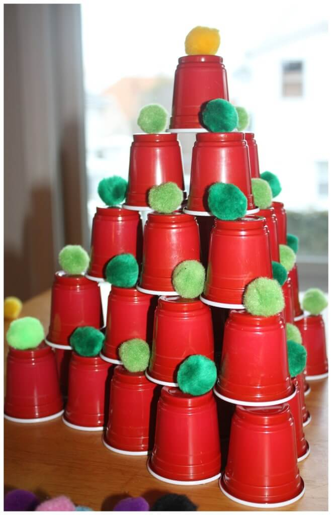 Christmas Tree STEM plastic cup tree building STEM activity