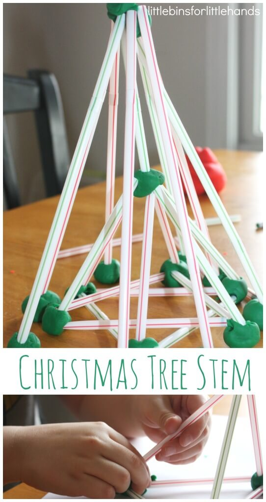 Christmas Tree Stem Play Dough and Straws Christmas tree building