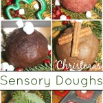 Christmas no cook dough sensory play recipes for holiday doughs peppermint chocolate vanilla cinnamon gingerbread