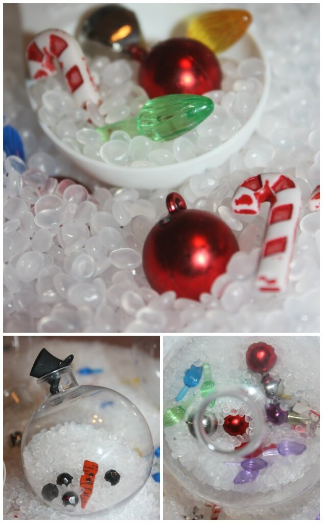 Christmas ornament sensory play with mini ornaments