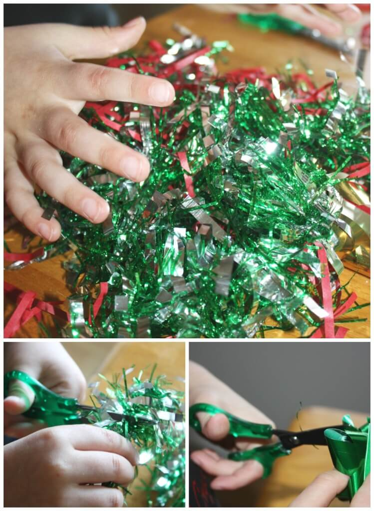 Christmas scissor skills cutting practice activity dollar store items fine motor skills