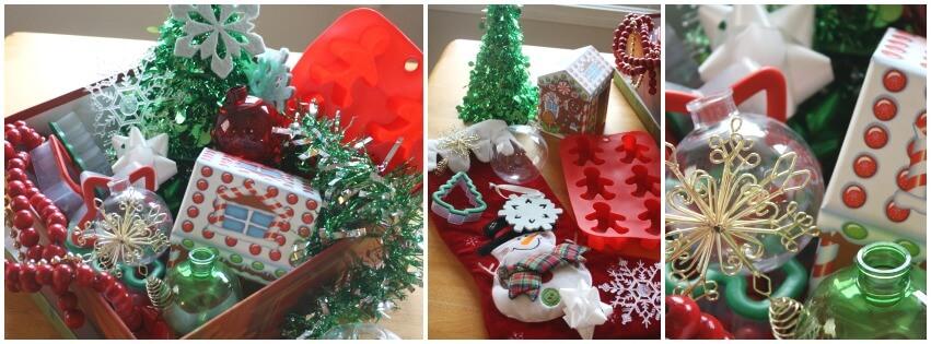Christmas treasure basket set up