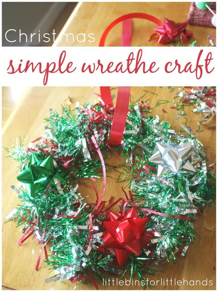 Christmas wreathe craft activity bows garland fine motor craft activity