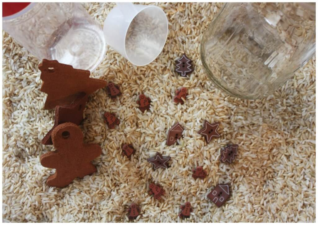 Cinnamon sensory play cinnamon scented rice sensory bin set up