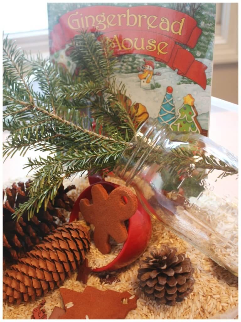 Cinnamon sensory play rice sensory bin gingerbread mouse book