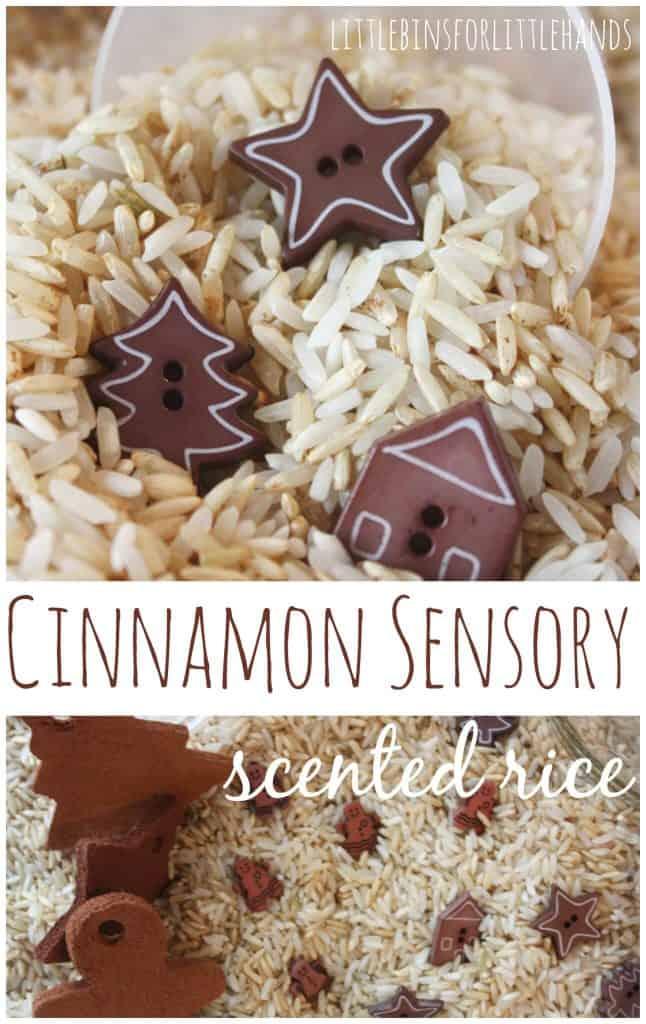 Cinnamon sensory rice play