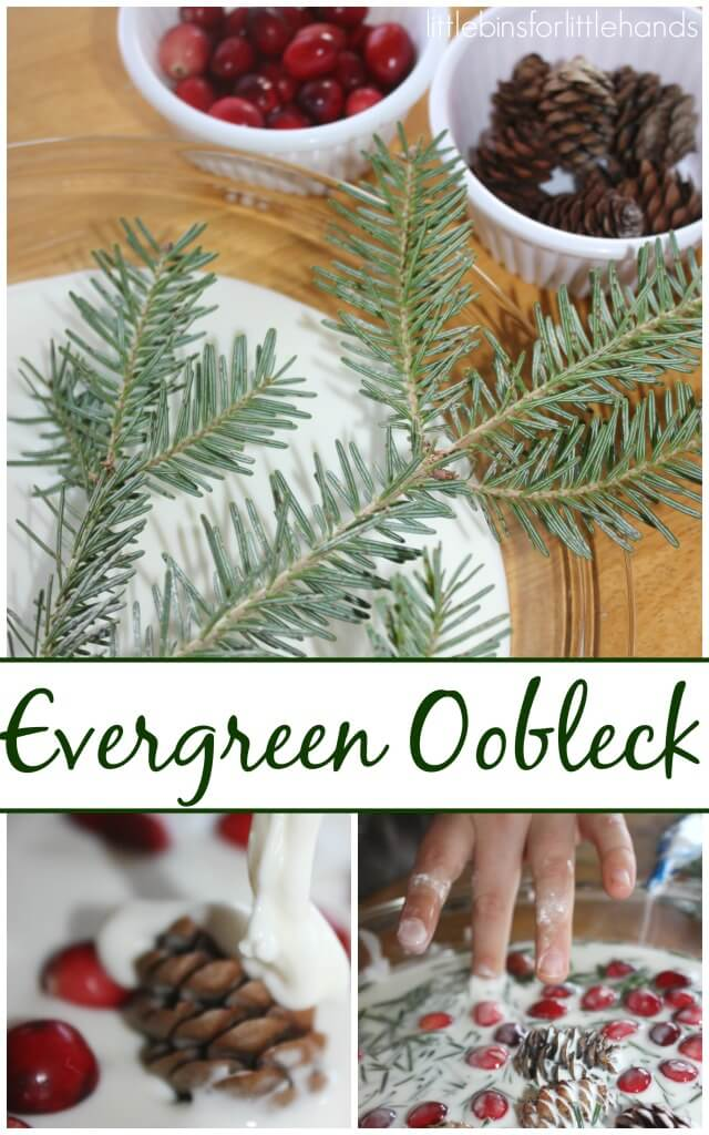 Evergreen oobleck Science Winter Science Sensory Play Christmas Tree Activity