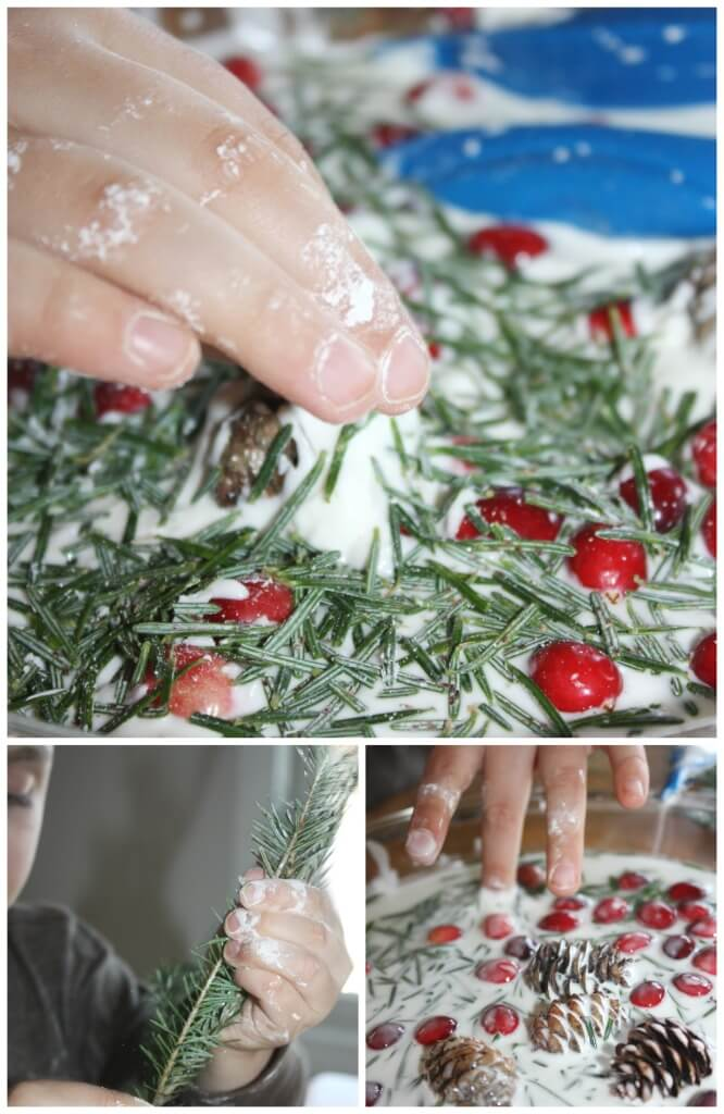 Evergreen oobleck science play with pine needles sensory play